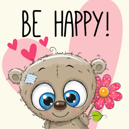cute love: Be Happy Greeting card Teddy Bear with hearts and a flower