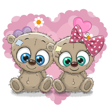 girl illustration: Two Cute Cartoon Bears on a background of heart