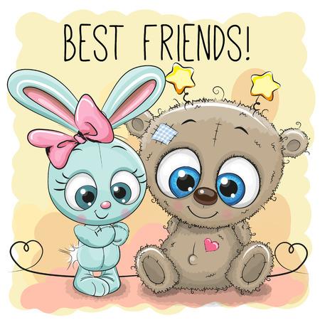 amistad: Oso lindo y chica de conejo sobre un fondo amarillo