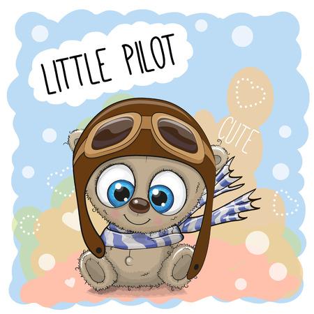 hispanic boy: Cute cartoon Teddy Bear in a pilot hat