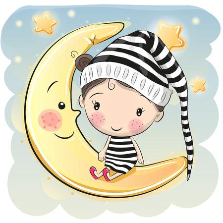 귀여운 만화 소녀 달에 앉아있다.