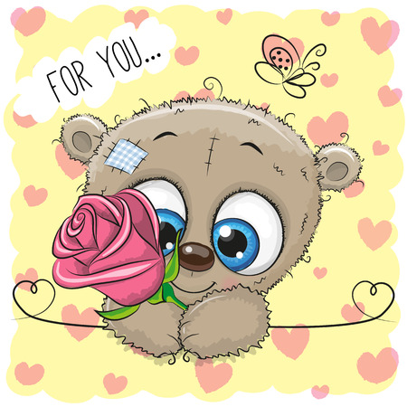 cute love: Greeting card cute cartoon Teddy Bear with flower on a yellow background