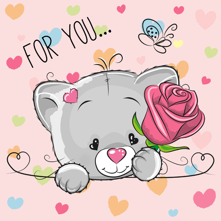 Greeting card cute cartoon Kitten with flower on a pink background Illustration