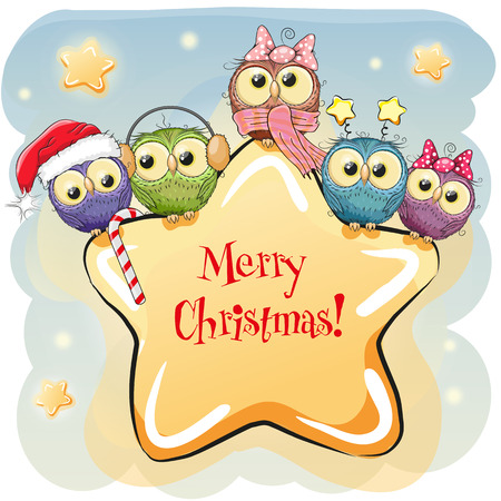 Greeting Christmas card Five Owls on a star