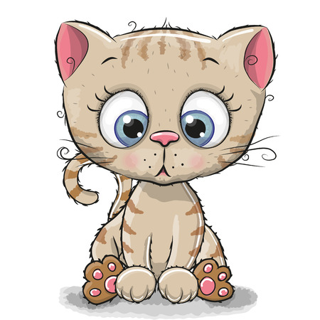 Cute Cartoon Kitten isolated on a white background