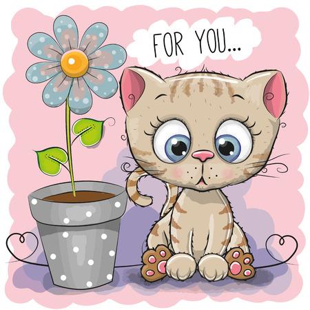 青い背景の花とグリーティング カード猫