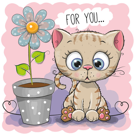 Greeting card Cat with flower on a blue background