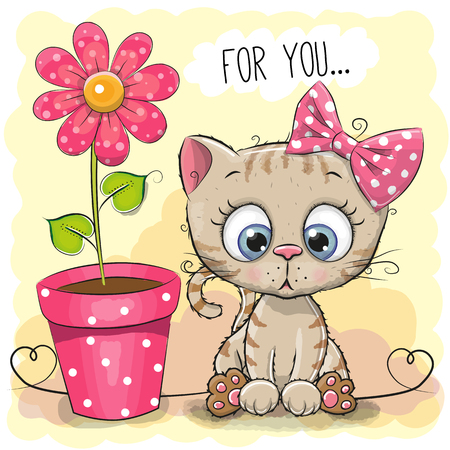 Greeting card kitten girl with flower on a blue background Vectores