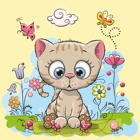 Chaton mignon de bande dessinée avec des fleurs et des papillons sur une prairie Banque d'images - 67692353