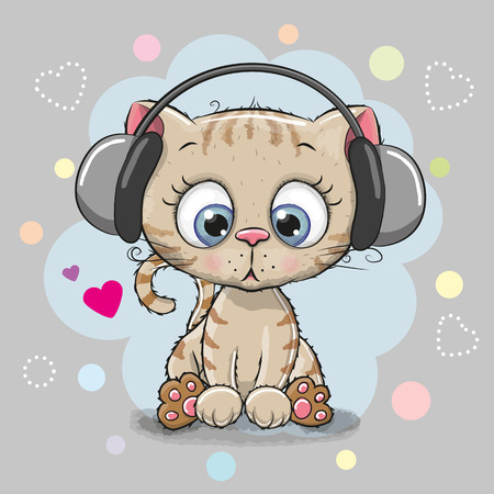 Cute cartoon Kitten with headphones on a gray background