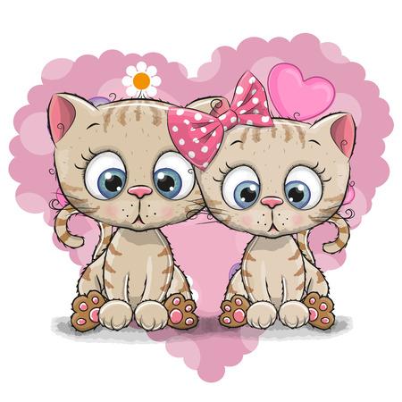 Twee Cute Cartoon Kitten op een achtergrond van hart
