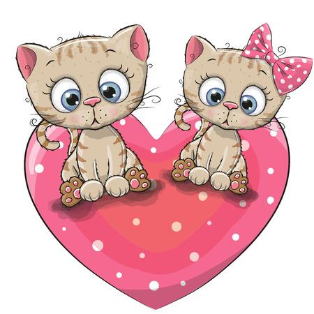 Two cute Cartoon Kittens is sitting on a heart
