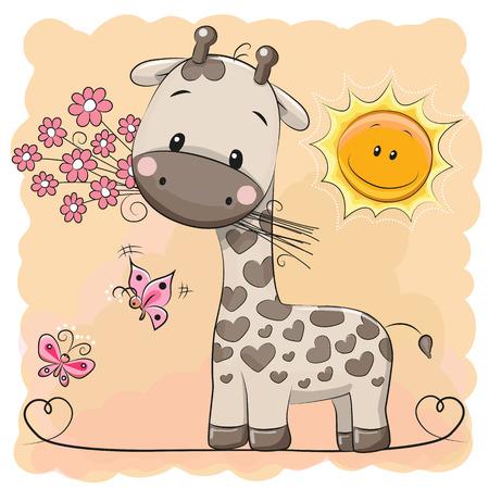 Carte de voeux de girafe avec des fleurs et des papillons