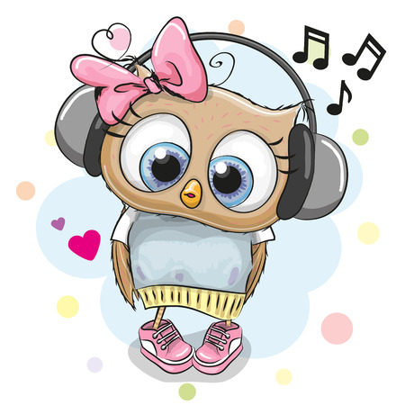 Cute cartoon Owl Girl with headphones and hearts