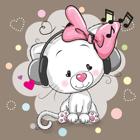 Cute cartoon white kitten girl with headphones and hearts