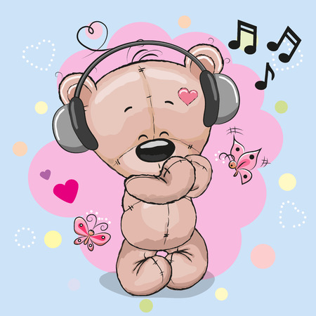 Cute cartoon ours en peluche avec un casque et des coeurs