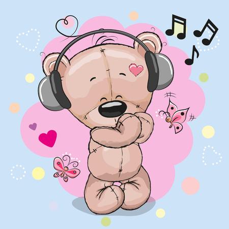 Cute Cartoon-Teddybär mit Kopfhörer und Herzen Standard-Bild - 68219693