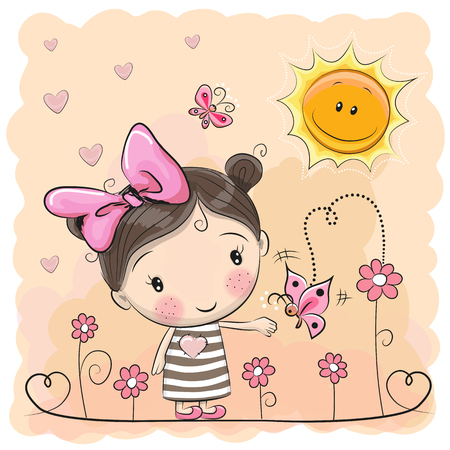 Cute Cartoon Girl on the meadow with flowers