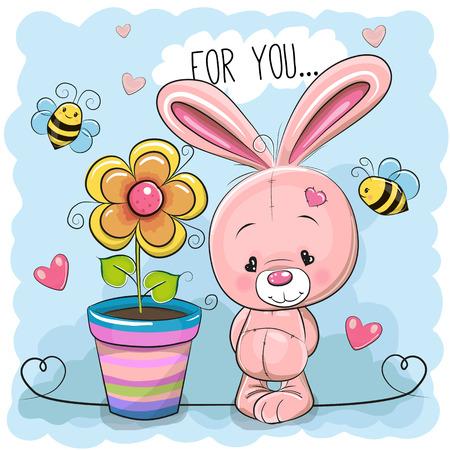 Carte de voeux de lapin mignon de bande dessinée avec des fleurs sur un fond bleu Vecteurs
