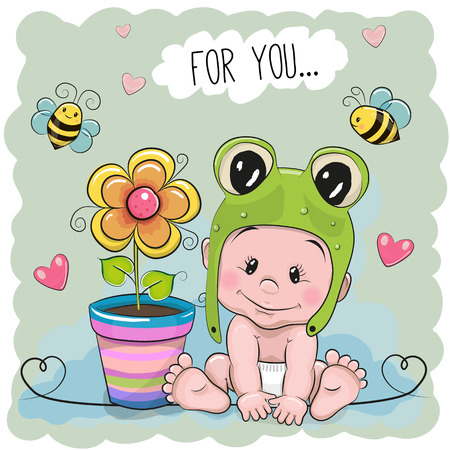 froggy: Cute Cartoon Baby in a froggy with flower