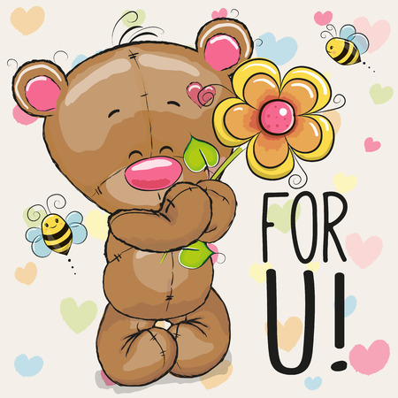 Greeting card Bear with flower on a heart background