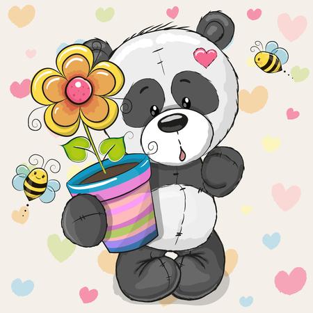 Carte de voeux Panda mignon de bande dessinée avec des fleurs