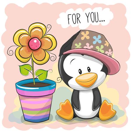 花とグリーティング カードかわいい漫画のペンギン  イラスト・ベクター素材