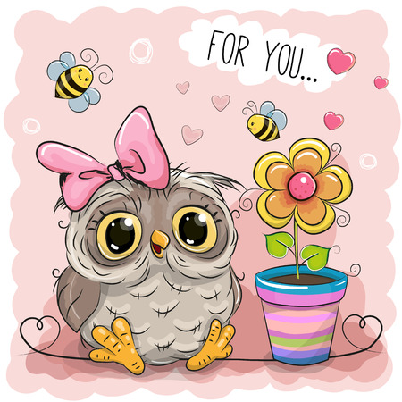 greeting card: Greeting card Cute Cartoon Owl with flower Illustration