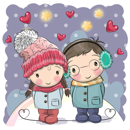 Cute winter illustration Cute Boy and Girl in hats and coats