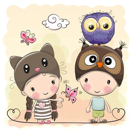 love letter: Niño y niña con búho lindo y mariposas Vectores