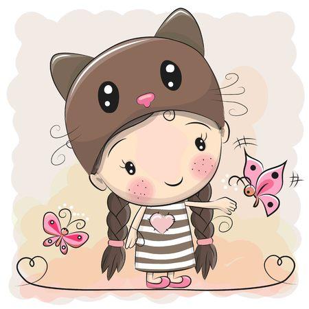 나비와 함께 새끼 고양이 모자에 귀여운 만화 소녀