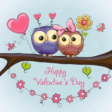 분기에 6 개의 귀여운 올빼미와 발렌타인 카드