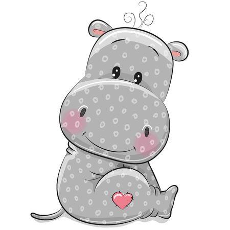 Leuke Cartoon Hippo geïsoleerd op een witte achtergrond Stock Illustratie