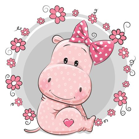Greeting card cute Cartoon Hippo girl with flowers
