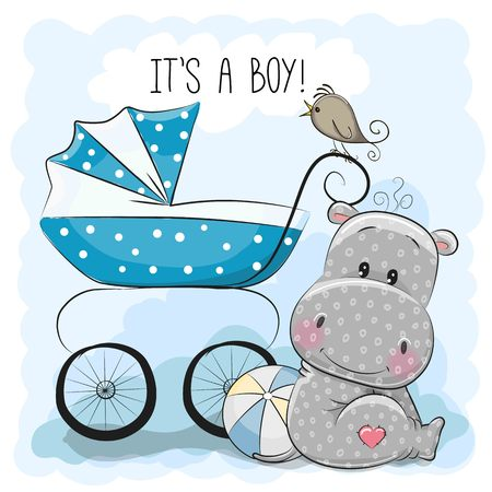 it's: Greeting card its a boy with baby carriage and Hippo Illustration