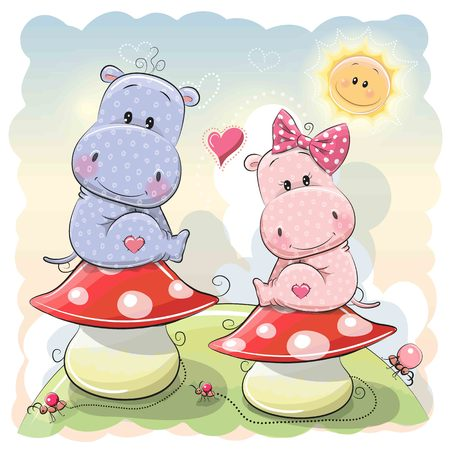 Two Cute Cartoon Hippos are sitting on mushrooms Illustration