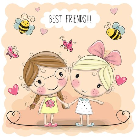 cartoon child: Two Cute cartoon girls keep for hands