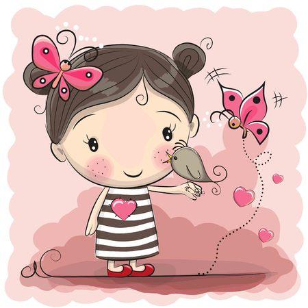 La muchacha linda de la historieta con aves y mariposas sobre un fondo rosa