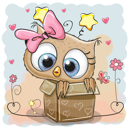 cartoon flower: Valentine card with a Cute Owl girl in a box