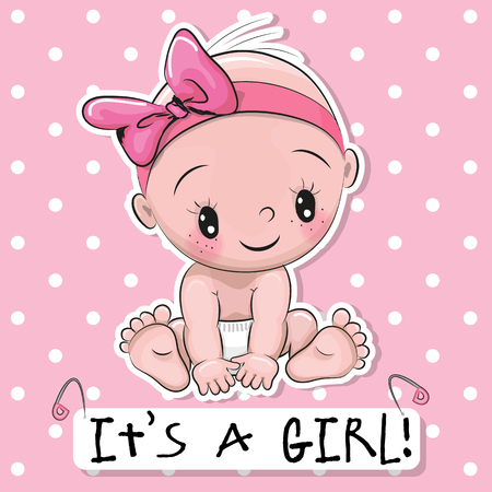 Greeting card it is a girl with baby on a pink dots background Vectores