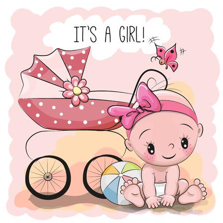 Tarjeta de felicitación es una chica con el bebé y el transporte Foto de archivo - 72014175
