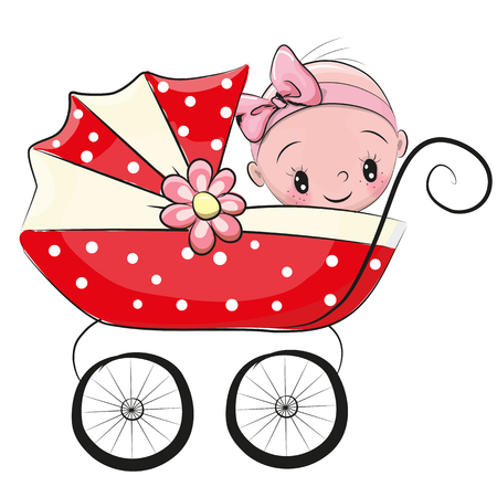 Cute Cartoon Baby girl is sitting on a carriage on a heart background