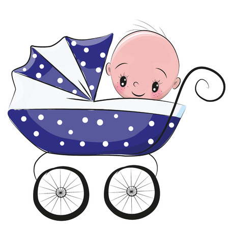 baby sitting: Cute Cartoon Baby boy is sitting on a carriage on a white background