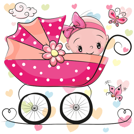 Cute Cartoon Baby girl is sitting on a carriage on a hearts background