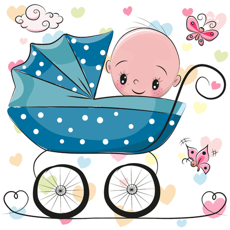 baby sitting: Cute Cartoon Baby boy is sitting on a carriage on a hearts background