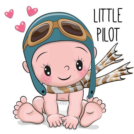 Bebé lindo de la historieta en un sombrero y una bufanda del piloto