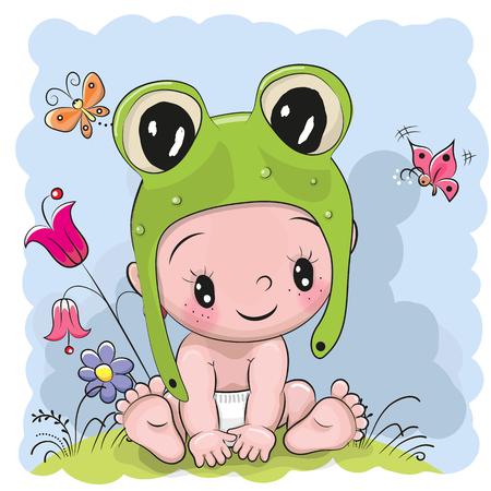 froggy: Cute Cartoon Baby in a froggy hat on the meadow