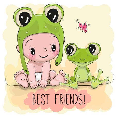 Cute Cartoon Baby in een froggy hoed en kikker