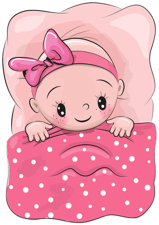 blanket: Cute Cartoon Sleeping Baby with a pink bow in a bed