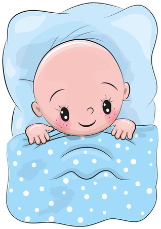 Cute Cartoon Sleeping Baby in a bed Illustration